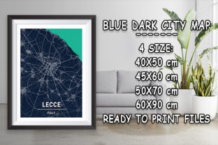 Print on Demand: Lecce - Italy Blue Dark City Map Graphic Photos By tienstencil