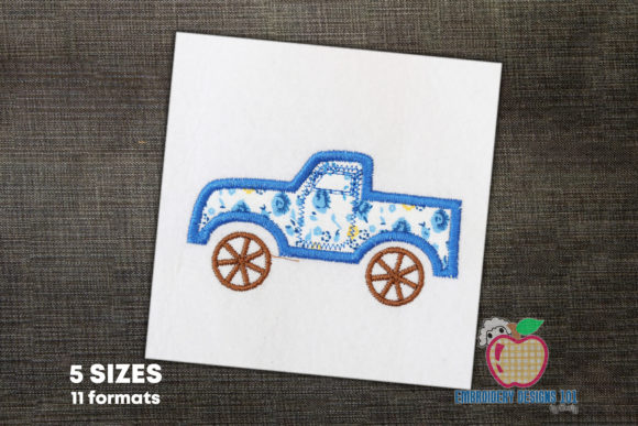 Lifted Pickup Truck Applique Pattern Transportation Embroidery Design By embroiderydesigns101