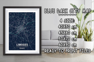 Print on Demand: Limoges - France Blue Dark City Map Graphic Photos By tienstencil