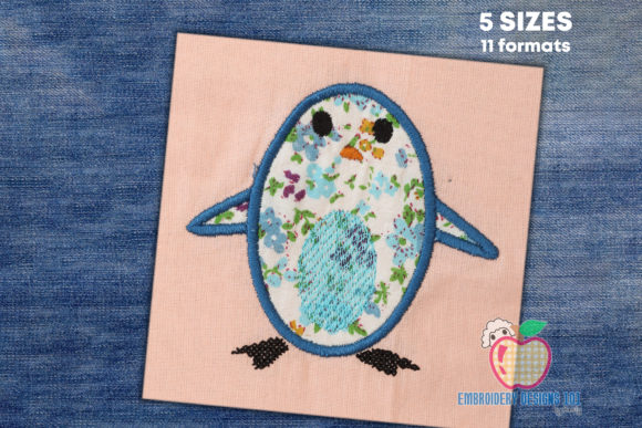 Little Penguin Applique Birds Embroidery Design By embroiderydesigns101