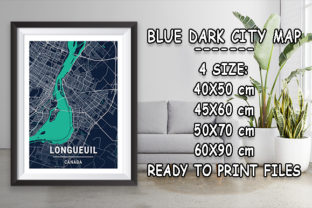 Print on Demand: Longueuil - Canada Blue Dark City Map Graphic Photos By tienstencil