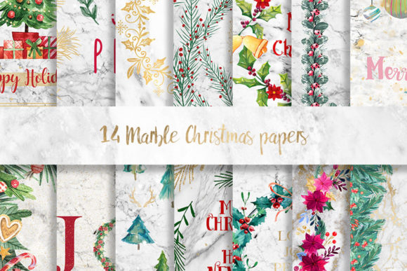 Print on Demand: Marble Christmas Wreath Pattern Paper Graphic Patterns By beracaink