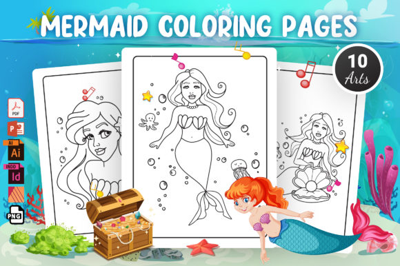 Mermaid Coloring Pages - KDP Interior Graphic