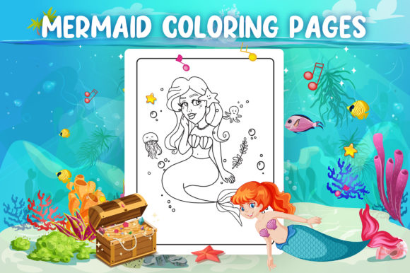 Mermaid Coloring Pages - KDP Interior Graphic Download