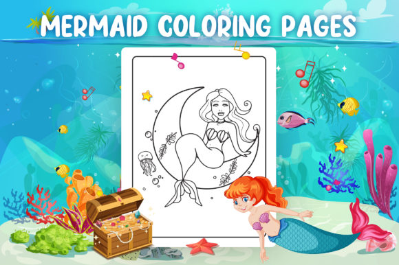 Mermaid Coloring Pages - KDP Interior Graphic Item