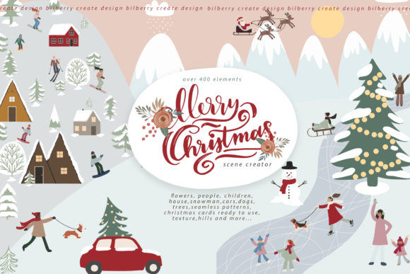 Merry Christmas Scene Creator Graphic Illustrations By BilberryCreate