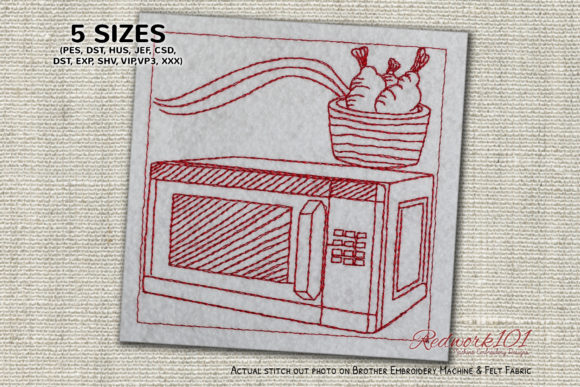 Microwave Lineart Kitchen & Cooking Embroidery Design By Redwork101
