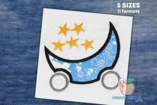 Moon Cartoon Trolley with Stars Applique Backgrounds Embroidery Design By embroiderydesigns101