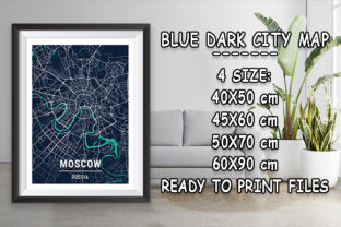 Print on Demand: Moscow - Russia Blue Dark City Map Graphic Photos By tienstencil