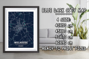 Print on Demand: Mulhouse - France Blue Dark City Map Graphic Photos By tienstencil
