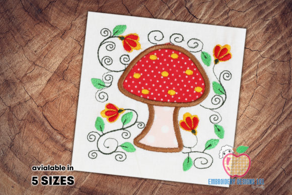 Mushroom with Floral Design Applique Single Flowers & Plants Embroidery Design By embroiderydesigns101