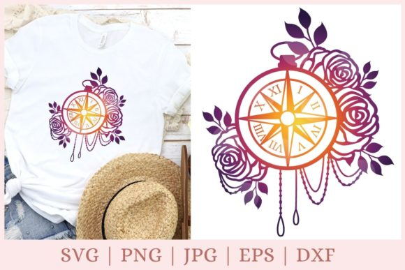 Nautical Compass, Flower Compass Graphic Print Templates By CrazyCutDesigns