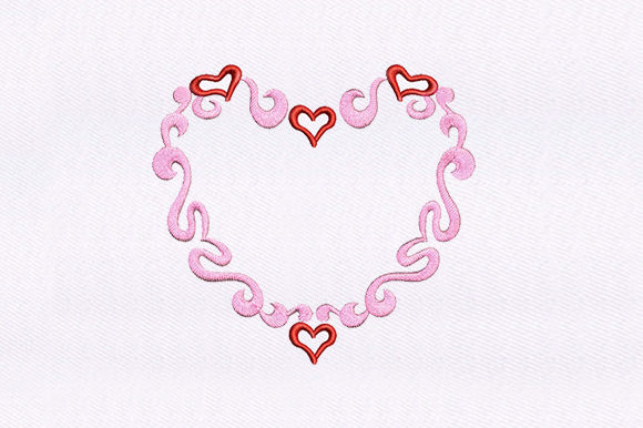Outlined Heart Valentine's Day Embroidery Design By DigitEMB