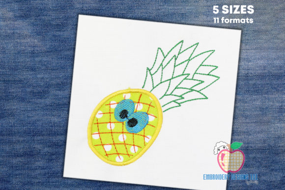 Pineapple with Green Leaf on the Top Food & Dining Embroidery Design By embroiderydesigns101