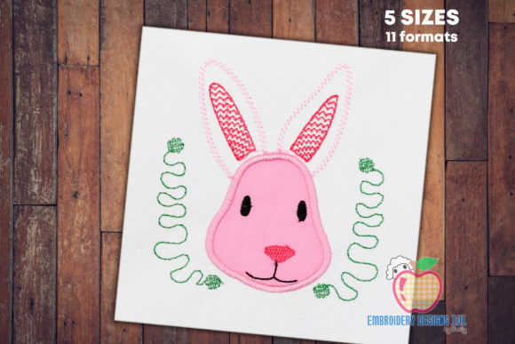 Pink Face of the Bunny Applique Ostern Stickdesign von embroiderydesigns101