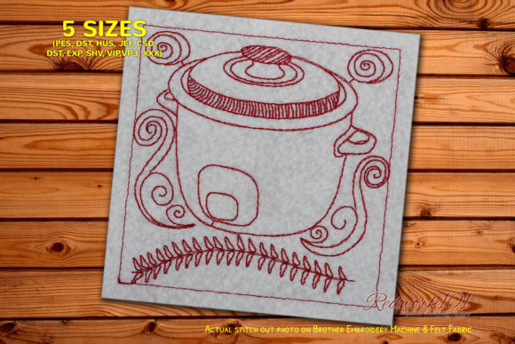 Rice Cooker Kitchen & Cooking Embroidery Design By Redwork101