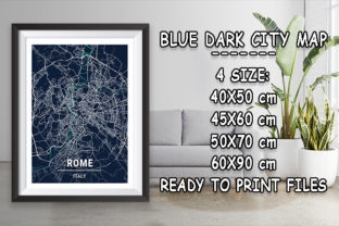 Print on Demand: Rome - Italy Blue Dark City Map Graphic Photos By tienstencil
