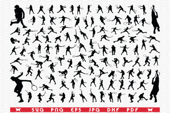 Tennis Players, Black Silhouettes Graphic Icons By DesignStudioRM
