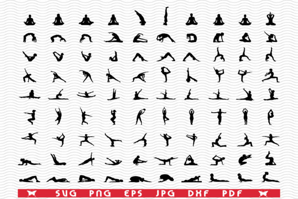Yoga Fitness, Black Silhouette Graphic Icons By DesignStudioRM