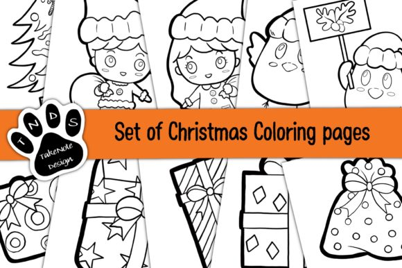 Set of Christmas Coloring Graphic Coloring Pages & Books Kids By TakeNoteDesign