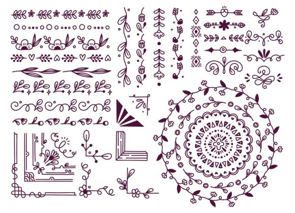 Set of Floral Hand Drawn Border Graphic Illustrations By Big Barn Doodles