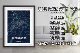 Print on Demand: Sherbrooke - Canada Blue Dark City Map Graphic Photos By tienstencil