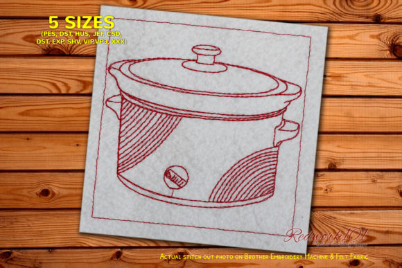 Slow Cooker Bluework Kitchen & Cooking Embroidery Design By Redwork101