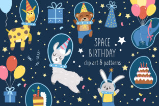 Space Birthday Graphic Illustrations By lexiclaus