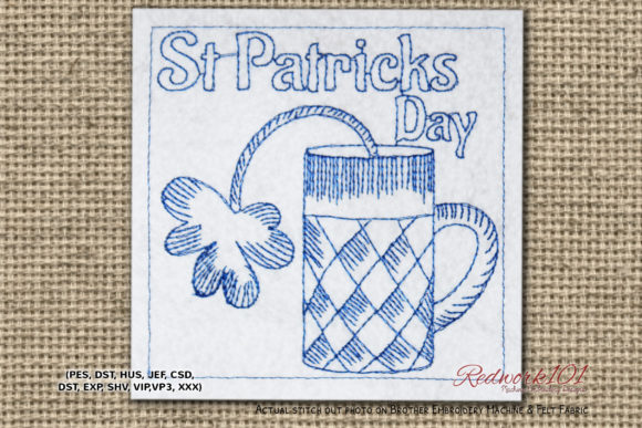 St Patricks Day Celebration with Beer Glass St Patrick's Day Embroidery Design By Redwork101