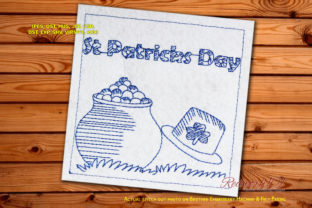 St Patricks Day Pot with Full of Gold Coin St Patrick's Day Embroidery Design By Redwork101