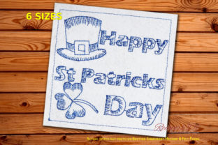 St Patricks Day Wording with Hat Redwork St Patrick's Day Embroidery Design By Redwork101
