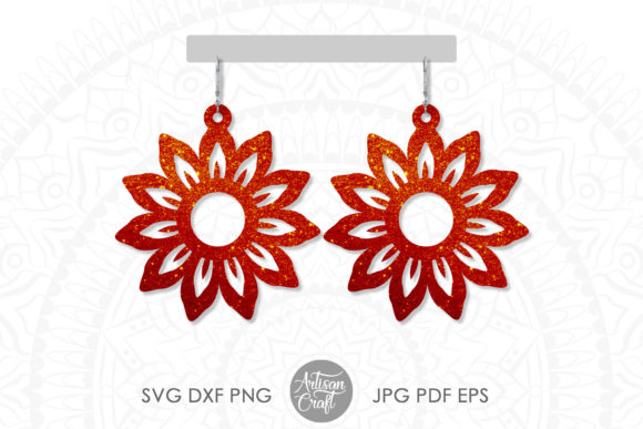 Print on Demand: Sunflower Earring, Floral Earrings Graphic 3D SVG By Artisan Craft SVG