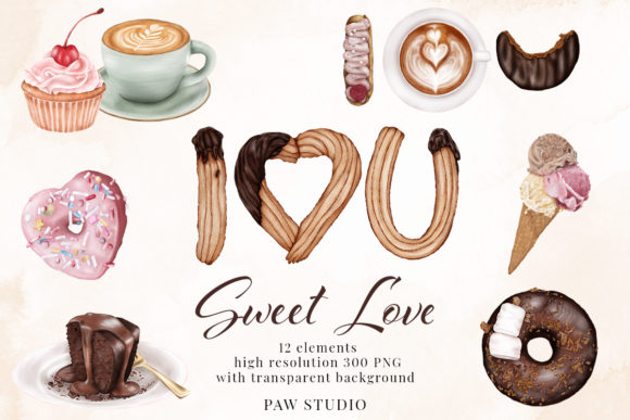 Print on Demand: Sweet Love - Valentine's Day Clipart Graphic Illustrations By PawStudio