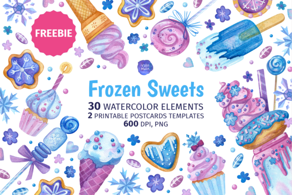 Print on Demand: Sweets Clipart and Birthday Invitations Graphic Illustrations By ValinMalin