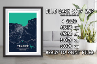 Print on Demand: Tangier - Morocco Blue Dark City Map Graphic Photos By tienstencil