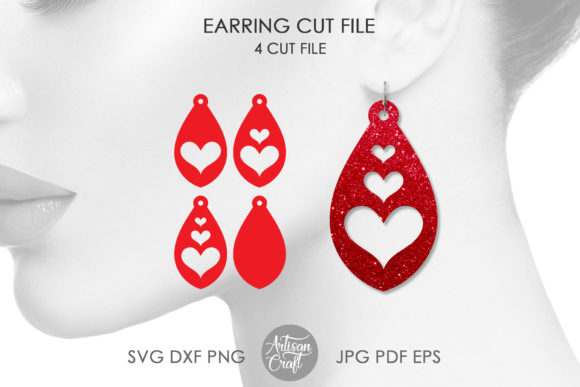 Print on Demand: Tear Drop Earrings, Valentines Jewel Graphic 3D SVG By Artisan Craft SVG