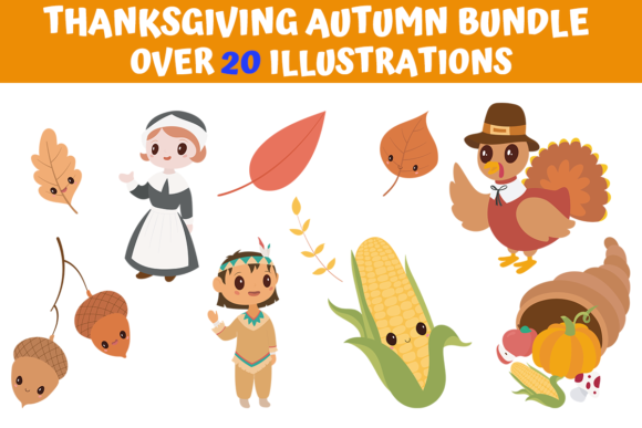 Print on Demand: Thanksgiving Autumn Bundle  von MyBeautifulFiles