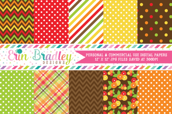 Print on Demand: Thanksgiving Day Patterns Graphic Backgrounds By Erin Bradley Designs