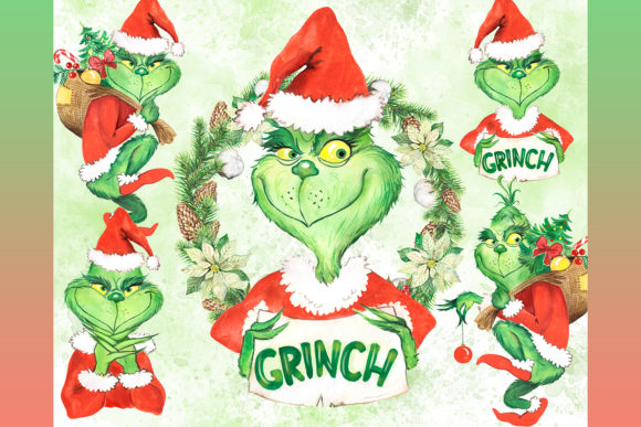 The Grinch Stole Christmas Clipart. Graphic Add-ons By EvArtPrint