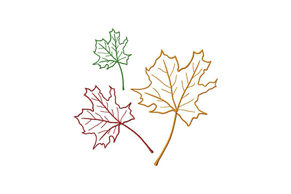 Print on Demand: Three Colored Maple Leaves Forest & Trees Embroidery Design By EmbArt