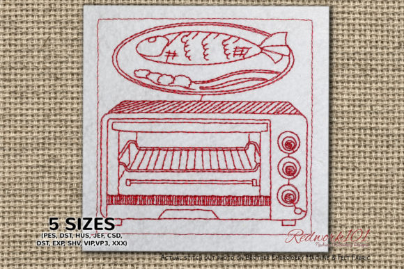 Toasters and Ovens Bluework Kitchen & Cooking Embroidery Design By Redwork101