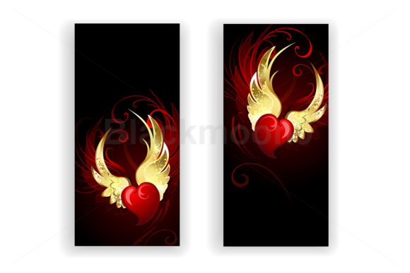 Two Banners with Hearts Angel Graphic Crafts By Blackmoon9