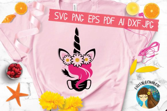 Print on Demand: Unicorn with a Flower Crown Graphic Crafts By AraySVG