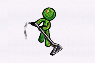 Vacuuming Emoji Figure Cleaning Embroidery Design By DigitEMB