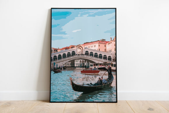 Print on Demand: Venice View Landscape Watercolor Graphic Illustrations By Silenic.co