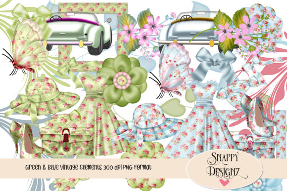 Vintage Fashion Scrapbooking Kit Graphic Illustrations By Snappyscrappy