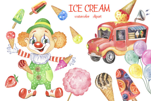 Watercolor Clown Clipart Ice Cream Party Graphic Add-ons By EvArtPrint