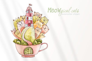 Print on Demand: Watercolor Cute Cartoon Cats Clipart Graphic Illustrations By Tiana Geo