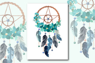 Print on Demand: Watercolor Dream Catcher with Floral 10 Graphic Illustrations By asrulaqroni