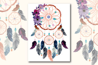 Print on Demand: Watercolor Dream Catcher with Floral 9 Graphic Illustrations By asrulaqroni